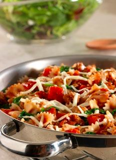 Great summer Italian Pasta Skillet.  Light, healthy, and delicious.  Save this one for your next backyard get together...
