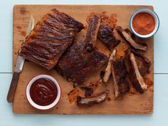 Memphis-Style Hickory-Smoked Beef and Pork Ribs from FoodNetwork.com