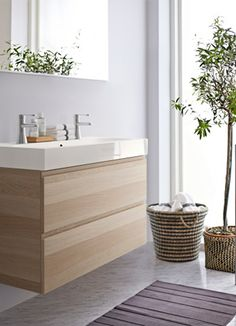 View of the bathroom with IKEA GODMORGON sink unit.