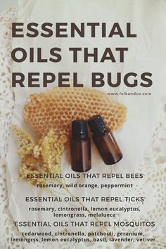Essential oils that Repel Bugs | Folk + Co. A list of oils that repel bees, mosquitos, and ticks