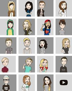 (Note for the original pin: If you know anybody that i said idk for PLEASE tell me. Thank you!) Row 1: phil, idk, connor, marzia. Row 2: Dan, bunny, lily, idk row 3: Jim, alfie, miranda, idk row 4: hannah, felix, Louise, troye row 5: Tyler, idk, zoe