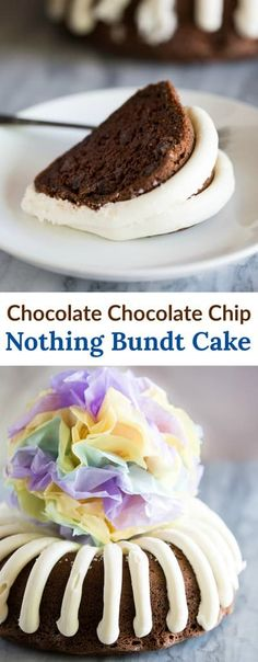 A Nothing Bundt Cake recipe that is a perfect copycat of the chocolate chocolate chip bundt cake at Nothing Bundt Cakes. Serve this for birthdays, baby showers, weddings, or any occasion! via food cake mix recipe ideas bundt Nothing Bundt Cake Sour Cream Desserts, Köstliche Desserts, Dessert Recipes, Copycat Recipes Desserts, Dinner Recipes, Chocolate Bundt Cake, Chocolate Chocolate, Cupcakes, Cupcake Cakes