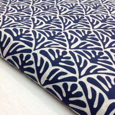 Block Print Fabric Indian Organic Cotton Indigo by DesiFabrics
