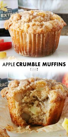 Apple Crumble Muffins, Healthy Apple Muffins, Apple Banana Muffins, Apple Crumble Recipe, Apple Cinnamon Muffins, Homemade Muffins, Chocolate Chip Muffins, Apple Recipes, Recipes For Baking