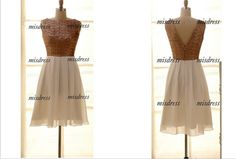 Champagne Gold Sequins Chiffon Bridesmaid Dress/Prom by misdress, $89.99