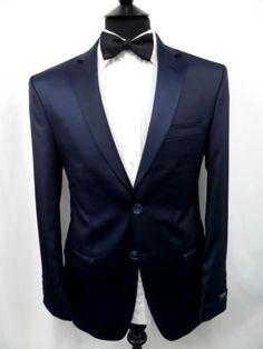 navy european cut tuxedo | Details about Brand New French Eye Satin Navy Tuxedo Dinner Suit 34 36 ...