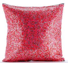 3eb2c7fd3de Luxury Red Textured Pillows Cover 16x16 Silk Throw Pillow Covers