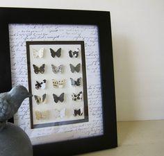 "French Shabby Chic Black and White Butterfly Collection from ""ShopOnALark"" on Etsy.com -- Love this!  One more reason for me to get out there and buy a butterfly punch!"