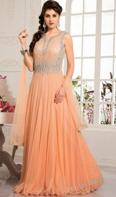 USD 145.68 Peach Net Designer Party Wear Gown 43783
