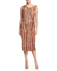 Sleeveless Sequined Cocktail Sheath Dress, Peanut - Nina Ricci