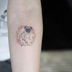 Pug tattoo on the right inner forearm. Tattoo Artist: Sol Tattoo
