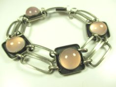 835-Silber-Armband-Rosenquarz-Vintage-70er-silver-bracelet-Modernist-cc-N4