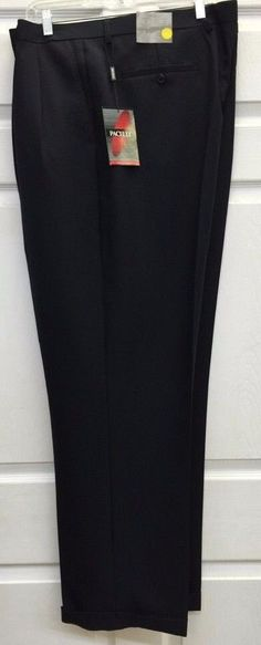 Men's Navy 2 Pleat Cuffed Dress Suit Pants Pacelli Sizes 32x30, 46x30 & 50x34 #Pacelli #DressPleat