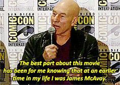 Sir Patrick Stewart at Comic Con. Star Trek with James McAvoy as young Picard anyone? lol why not, he's already young Xavier! John Barrowman, Chris Evans, Nerd Love, My Love, Dc Memes, Man Movies, Interview, James Mcavoy, Geek Out