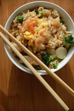 Easiest Shrimp Fried Rice ever! The veggies are interchangeable!! Mix and match! Delish!
