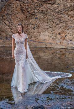 galia lahav gala 2018 bridal cap sleeves illusion bateau neck full embellishment elegant fit and flare wedding dress open back chapel train (6) mv