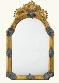 A GILT-COPPER AND SILVERED METAL MIRROR, EARLY LOUIS XV