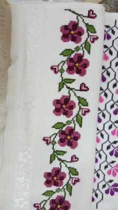 Cross Stitch Borders, Cross Stitch Rose, Cross Stitches, Hand Embroidery Designs, Embroidery Applique, Palestinian Embroidery, Cross Stitch Landscape, Crochet Bedspread, Diy Crafts Hacks