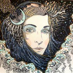 Vampire's Wife by Daria Hlazatova Illustrations, Illustration Art, Art Vintage, Pinup, Art Moderne, Psychedelic Art, Art Plastique, Art Inspo, Line Art