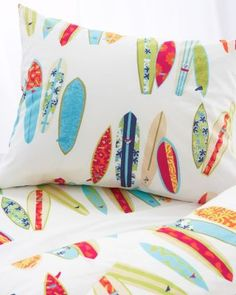Surfboards Cotton Percale Bedding Sheets Comforter Duvet Cover Cases Sham
