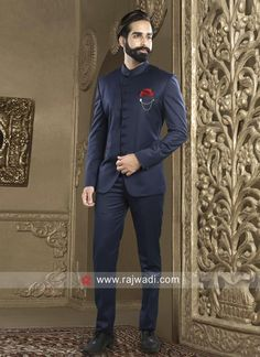 Attractive Navy Jodhpuri Suit For Party. Indian Men Fashion, Mens Fashion Suits, Mens Suits, Suit Men, Men's Fashion, Indian Wedding Suits Men, Wedding Dress Men, Wedding Stage, Sherwani Groom