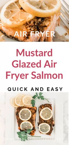 The BEST Mustard Glazed Air Fryer Salmon. Super easy airfryer salmon recipe and so crispy on the outside yet moist on the inside! Healthy Family Meals, Easy Healthy Recipes, Snack Recipes, Easy Meals, Family Recipes, Healthy Kids, Healthy Living, Best Salmon Recipe, Salmon Recipes