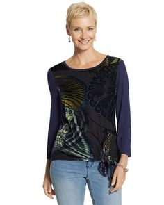 #chicosweeps.  Playful style strikes a beautiful balance with sophistication in this tie-front peacock top.