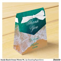 Shop Sandy Beach Ocean Waves Wedding Favor Box created by DazzlingPaperItems. Beach Wedding Favors, Wedding Favor Boxes, Destination Wedding, Favor Tags, Gift Tags, Ribbon Colors, Ocean Waves, Romantic Weddings, Party Favors