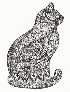 zentangle art cat - Buscar con Google