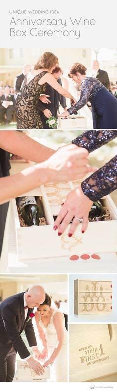 """Instead of a unity candle we asked our mothers to engrave a secret message on the inside of the anniversary wine box which we will read on our anniversary dates. It ended up being my one of favorite parts of the ceremony. Thank you again.""   ~ The new Mrs. Lajoie #wineboxceremony"