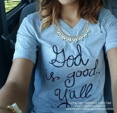 God is good, yall!  BEST SELLER!  Bella and Canvas brand unisex t-shirt. This is custom made design drawn by yours truly-me!! This item is pressed with high quality heat transfer vinyl which is permanently pressed on the shirt with a commercial heat press. It will NOT peel off, or wash off. Shirt Color: Heather Grey Brand: Bella and Canvas 90% cotton, 10% polyester Unisex fit V-neck style  -----------SIZING DIMENSIONS---------- BODY WIDTH XS 16.5 S 18 M 20 L 22 XL 24 2XL 26  FULL BODY LENGTH…