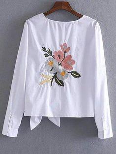 Bowknot de la camiseta bordada