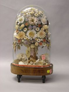 Victorian Seashell Floral Arrangement under a Glass Dome.   Sale Number 2266, Lot Number 138   Skinner Auctioneers