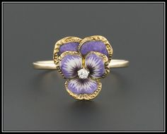 24 HOUR HOLD for M- Enamel & Diamond Pansy Flower Ring, 14k Gold Ring, Antique Pin Conversion Ring