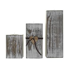 White washed.. Wooden Rustic tea light holders