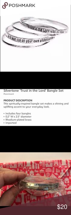 """Silver-tone """"Trust in The Lord"""" bangle set Includes 4 bangles-0.2"""" W x 2.5"""" diameter-Rhodium plated brass-Imported. Peermont Jewelry Bracelets"""