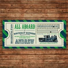 Choo Choo! This vintage train ticket invitation in blue and green or red and gray will set just the right tone for your little ones big day. Your childs friends will love to receive their own birthday party ticket in the mail!  This listing is for a 4 x 9 digital printable file. This invitation fits great in a #10 envelope. These printable invitations coordinate with my other vintage train party printables. Please see my other listings to purchase those also. Everything at your party will…