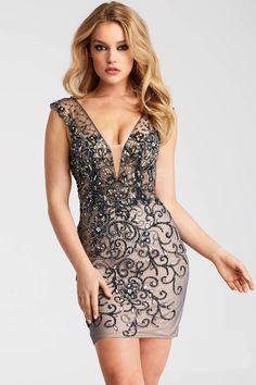 9007064963 Buy the JVN58634 Beaded Deep V-Neckline Short Dress by Jovani at  CoutureCandy.com