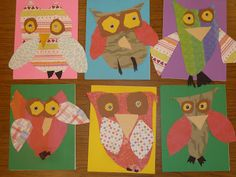 Kindergarten Owls- cut and glue