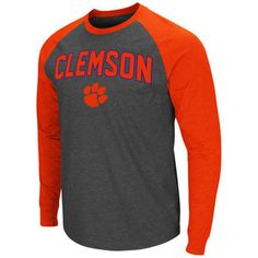 Men's Colosseum Heathered Charcoal/Orange Clemson Tigers Olympus II Raglan Long Sleeve T-Shirt