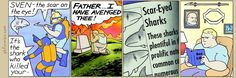 The Perry Bible Fellowship Perry Bible Fellowship, Non Sequitur, Calvin And Hobbes, Political Cartoons, Funny Comics, Revenge, Comic Strips, I Laughed, Funny Pictures