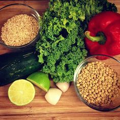 Use what you got! #lentils #rice #peppers #kale #zucchini #lime #shallot