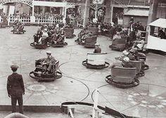 bumper cars Custom Go Karts, Flying Scotsman, Hall Of Mirrors, Amusement Park Rides, Concrete Building, Vintage London, Pedal Cars, London Photos, Roller Coaster