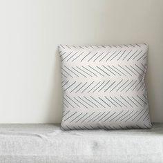 Wrought Studio Elzira Modern Chevron Square Pillow Cover & Insert Colour: Cream/Grey, Size: 18