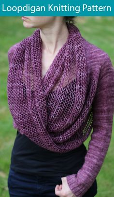 Knitting Patterns dress Loopdigan Knitting pattern by Jenny Faifel Shrug Knitting Pattern, Knit Shrug, Sweater Knitting Patterns, Knitting Yarn, Knit Patterns, Free Knitting, Knit Cowl, Fingering Yarn, How To Purl Knit