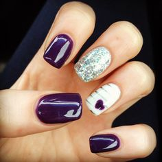 New gel nails, purple and silver glitter