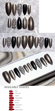 Press-On Nails: Stiletto Nails With Metallic Steel Finish And Rhinestone Accent Nail Bling Nails BUY IT NOW ONLY: $35.0