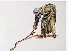 И каза: Хвърли го на земята. И той го хвърли на земята, и стана змия; и Моисей побягна от нея. Но Господ каза на Моисея: Простри ръката си и хвани я за опашката; (и той простря ръката си и я хвана, и тя стана жезъл в ръката му); стори това, за да повярват, че ти се яви Господ, Бог на бащите им, Бог Авраамов, Бог Исааков, и Бог Яковов. Изход 4:3,4,5