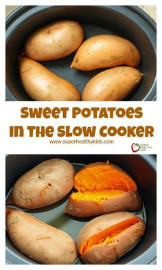 Sweet Potatoes in the Slow Cooker - 4 great benefits 1 easy recipe!Sweet Potatoes in the Slow Cooker - 4 great benefits 1 easy recipe! Healthy Slow Cooker, Crock Pot Slow Cooker, Crock Pot Cooking, Slow Cooker Recipes, Cooking Recipes, Crockpot Meals, Vegetarian Slow Cooker Meals, Crockpot Veggies, Crockpot Recipes For Kids