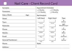 Nail Care Client Card / Client Record Card / Treatment Consultation Card